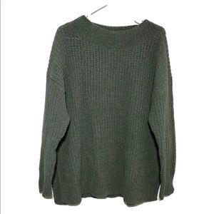 Aerie Green Oversized Chunky Knit Sweater Medium